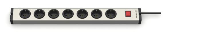 Universal Aluminium Steckdosenleiste 7-fach mit Schalter