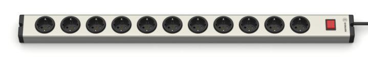 Universal Aluminium Steckdosenleiste 11-fach mit Schalter