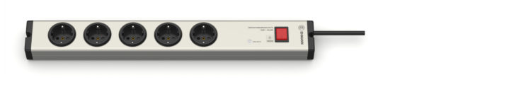 Überspannungsschutz Aluminium Steckdosenleiste 5-fach mit Schalter