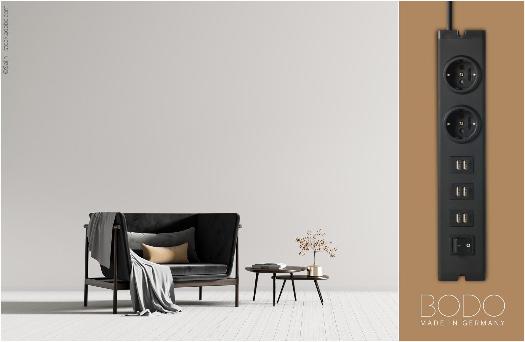 BODO - Design Steckdosenleiste black elegance