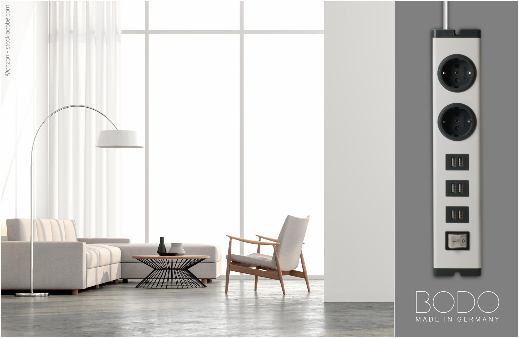 BODO - Design Steckdosenleiste soft white